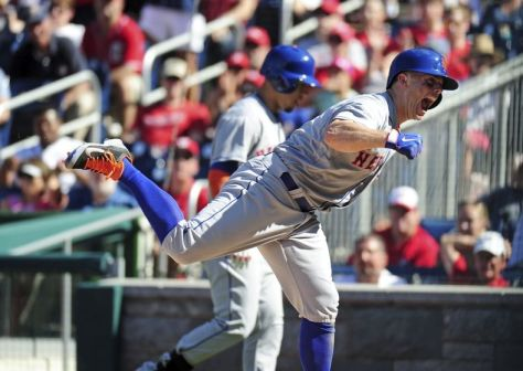 Sep 7, 2015; Washington, DC, USA; New York Mets third baseman David Wright (5) reacts after scoring a run in the seventh inning against the Washington Nationals at Nationals Park. Mandatory Credit: Evan Habeeb-USA TODAY Sports